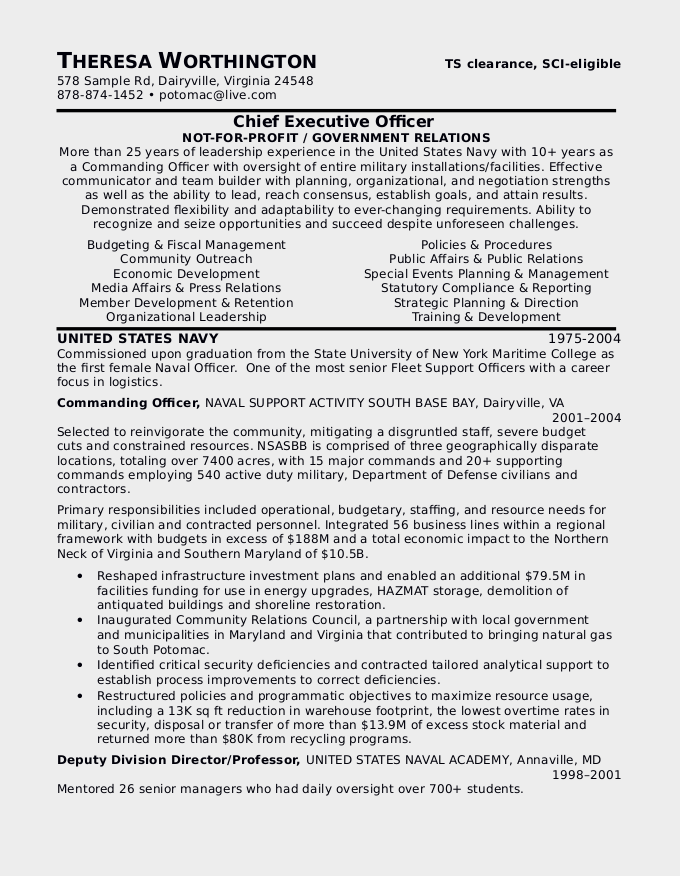 a resume sample for military to civilian resume - Military To Civilian Resume Template