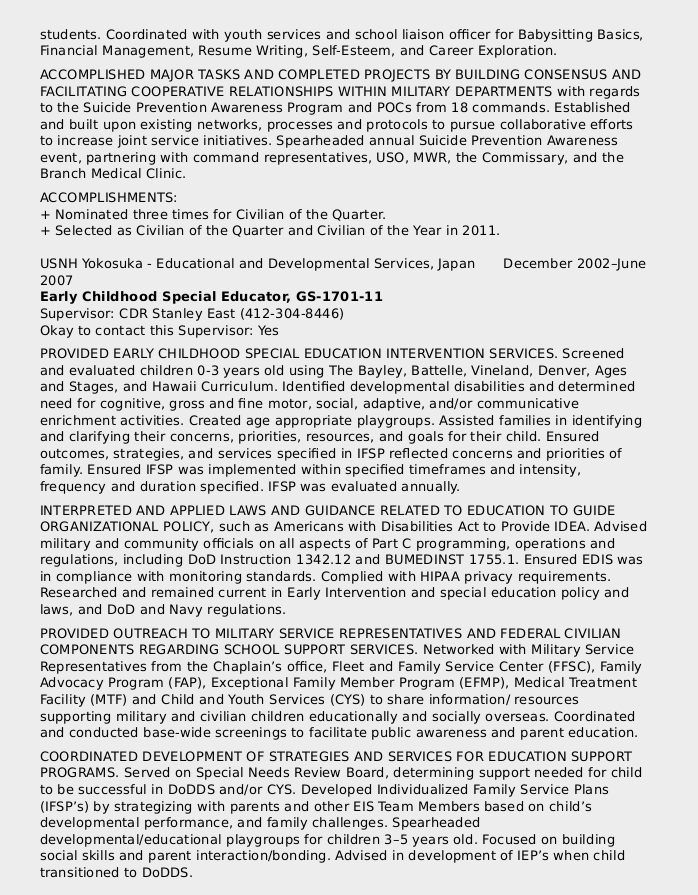 Federal resume sample for education series 1701 certified resume a federal resume sample for someone with education experience written by a federal resume expert and yelopaper Image collections