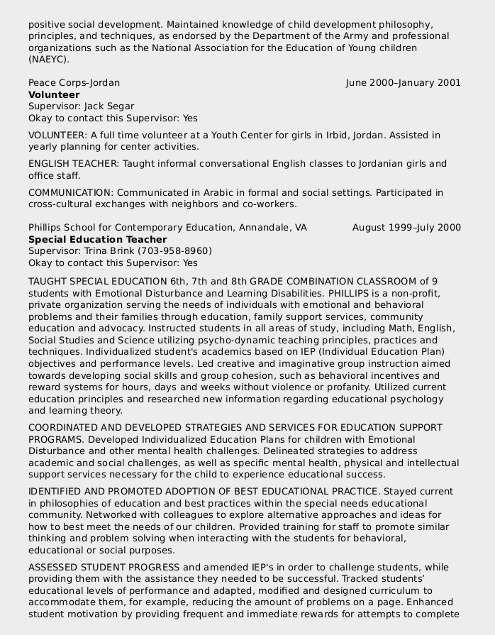 federal resume sample for education series